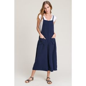NEW Navy Wide Leg Cropped Overalls
